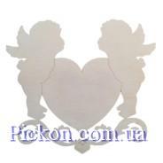 Деревянные фигурки Ангелы и сердце (завитки). Фанера