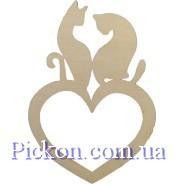 Деревянные фигурки Кошки + Сердце полое. Фанера
