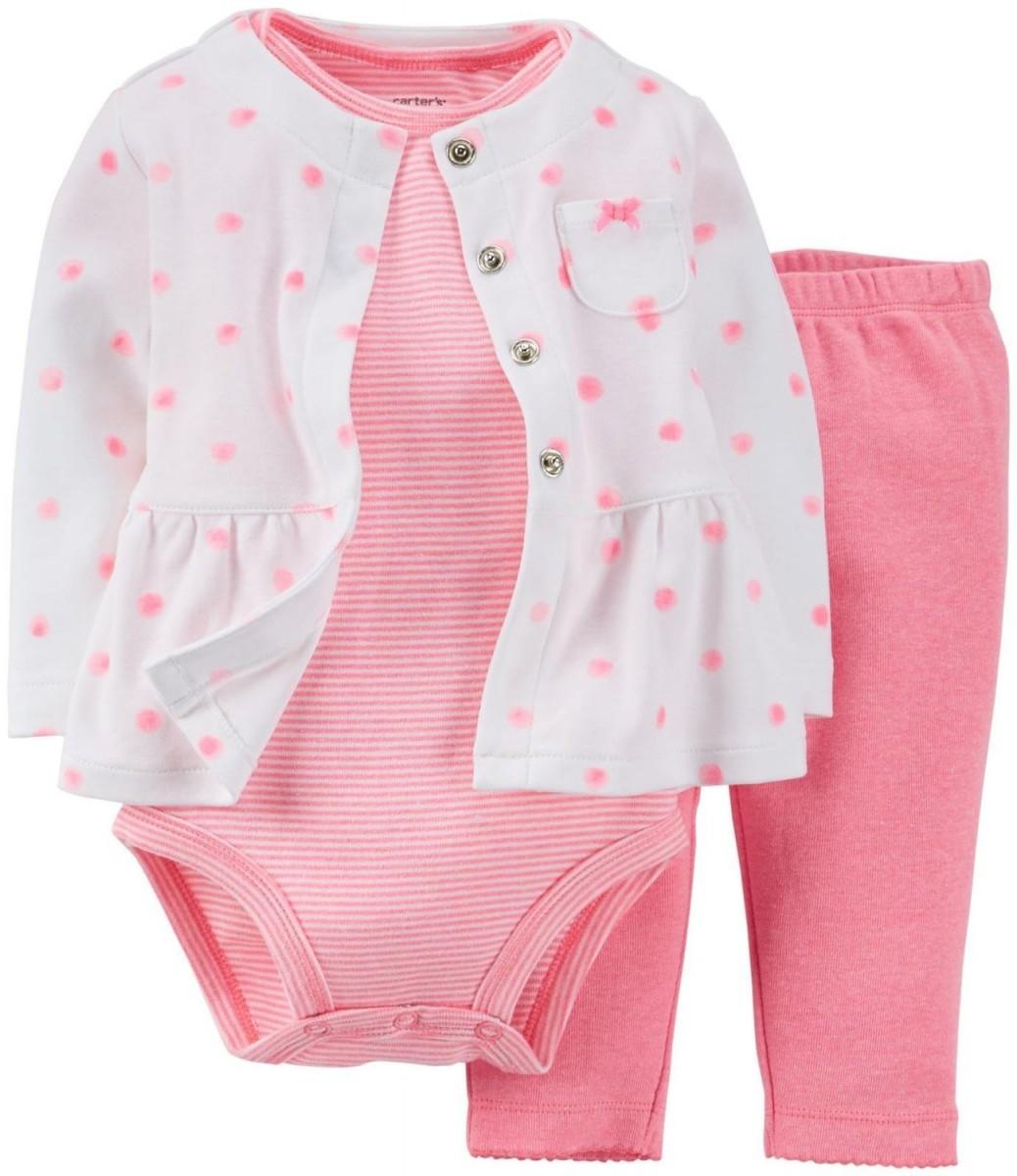 Комплект Carter's Pink Dots кофточка, боди и штаны для девочки, 12 мес
