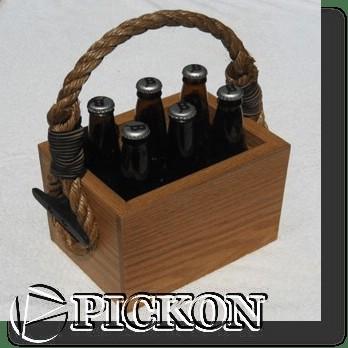 Пивная переноска из дерева  кол-во бутылок - 6шт (модель P19(6))