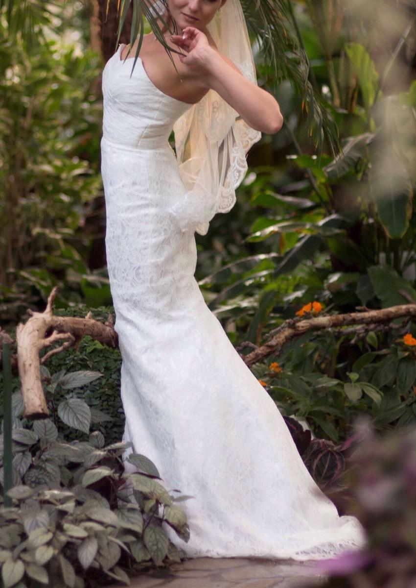 Свадебное платье. Силуэт Рыбка(Русалка). Кружевное платье со шлейфом.
