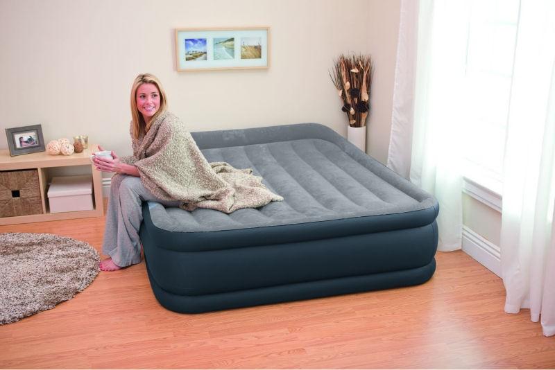 Двухспальная надувная флокированная кровать матрас  Intex 67738