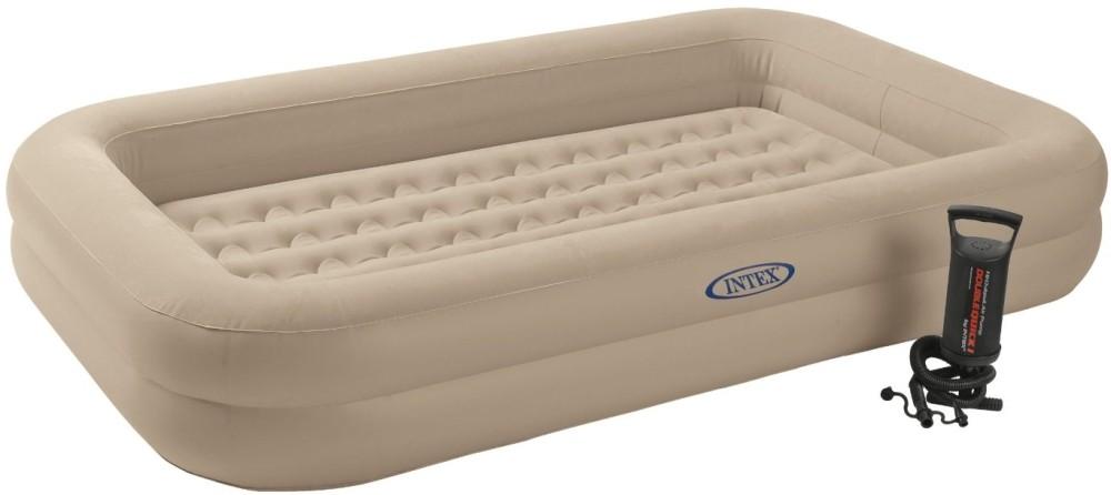 Детская надувная флокированная кровать матрас  Intex 66810