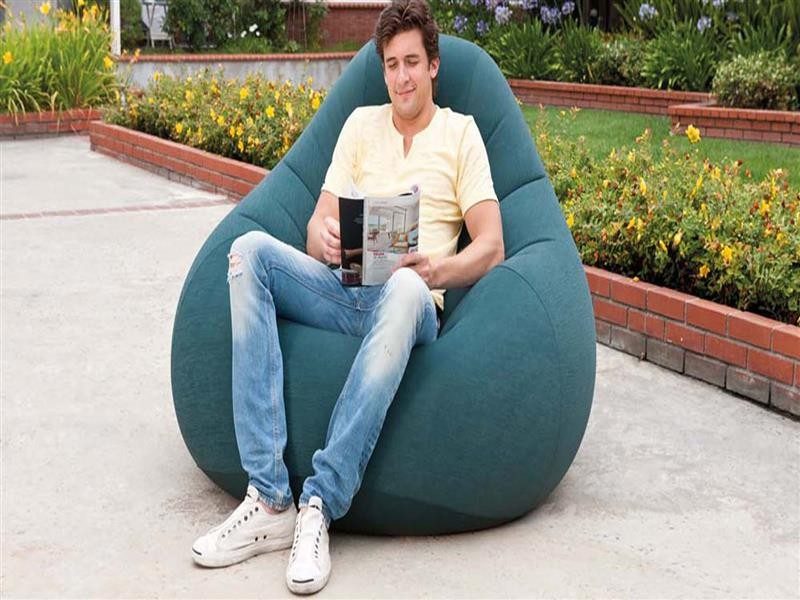 Надувное флокированное кресло Intex 68583, зеленое
