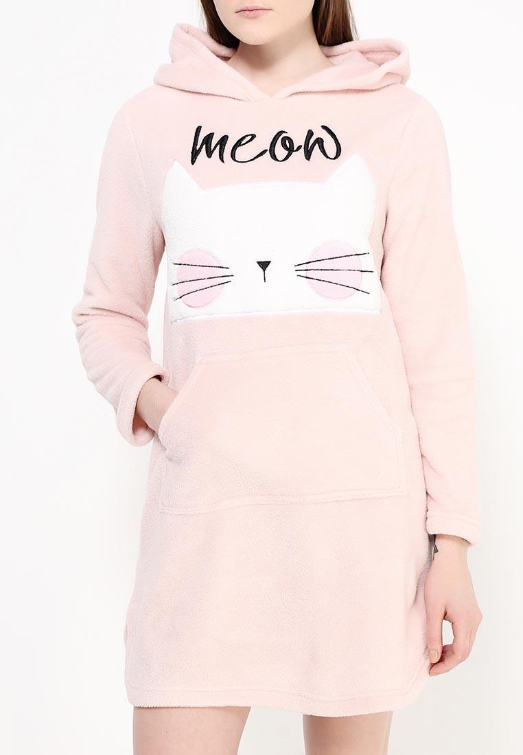 Женская ночная рубашка с котиком. Махровое домашнее платье, новое, S