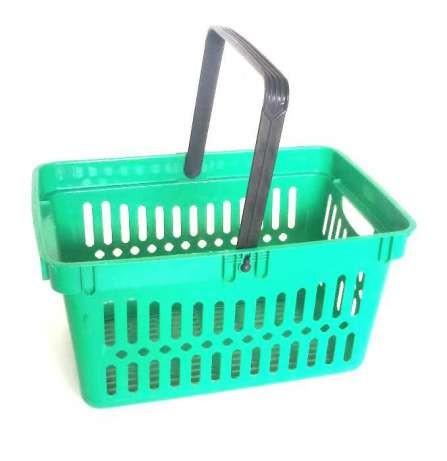 Покупательские корзины на 26 и 22 литра, тележки для корзин БУ.
