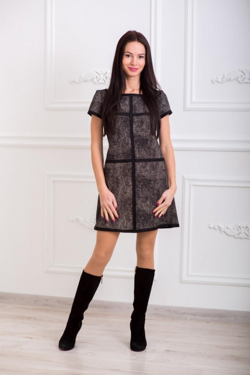 Платье женское черно-кремовое Меланж-Трапеция