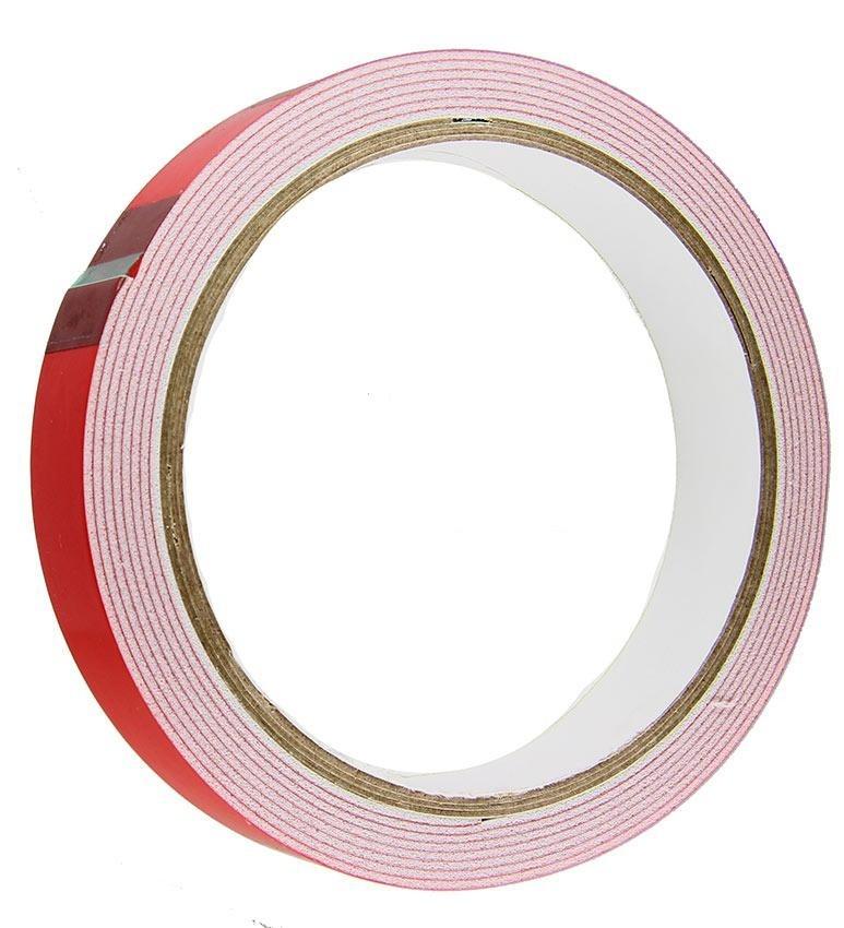 Скотч двусторонний на вспененной основе, красный, усиленный 45ммх2м