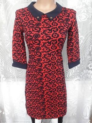 Платье красное тёмно-синий воротник и манжет