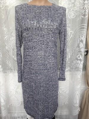 Платье серое прямое меланж длинный рукав
