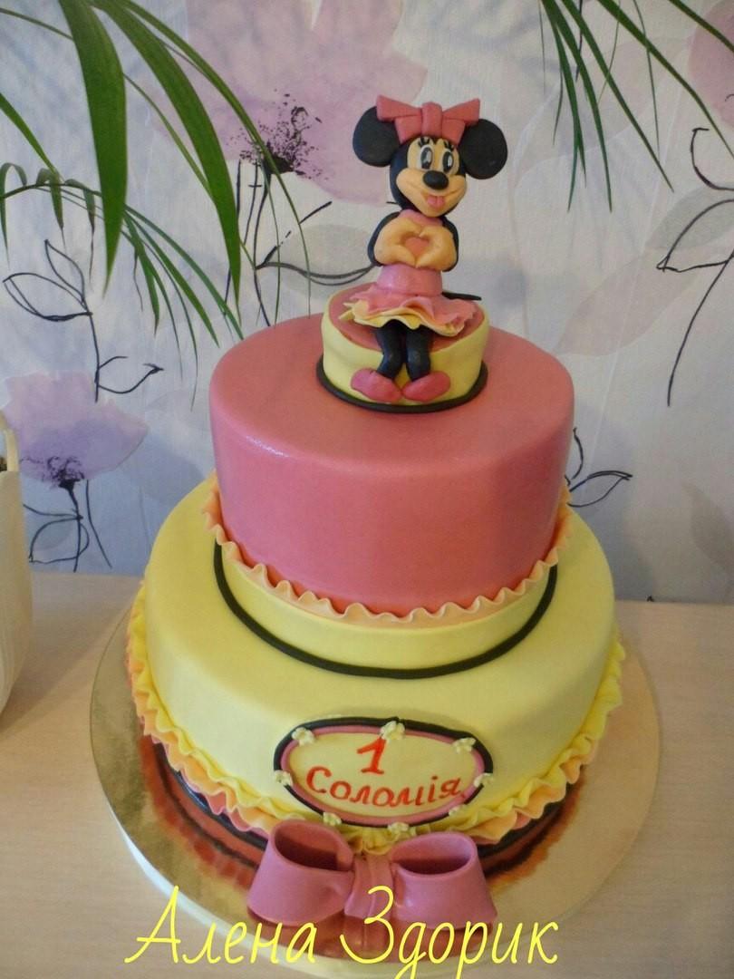 Детский 2-х ярусный торт с Микки на годик девочке