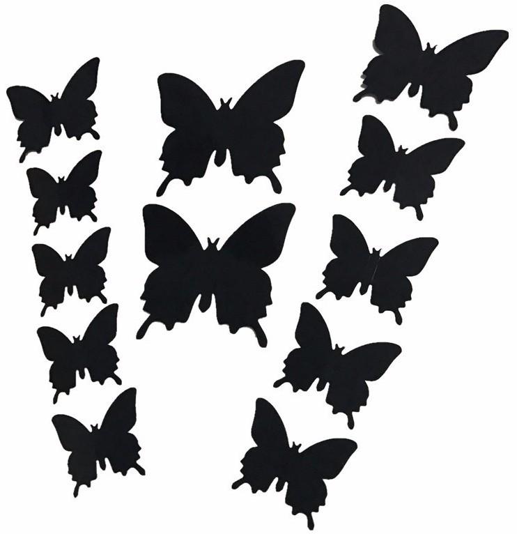 Наклейки бабочки черные