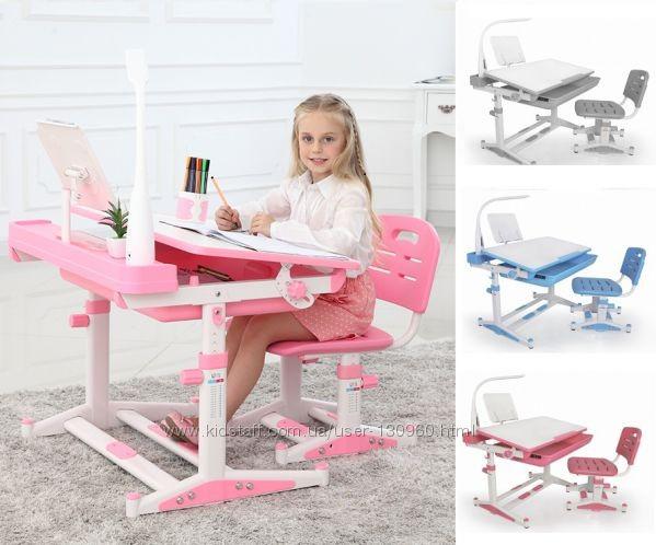 Комплект парта и стул растишки Mealux Evo-Kids BD-04 B New XL с лампой