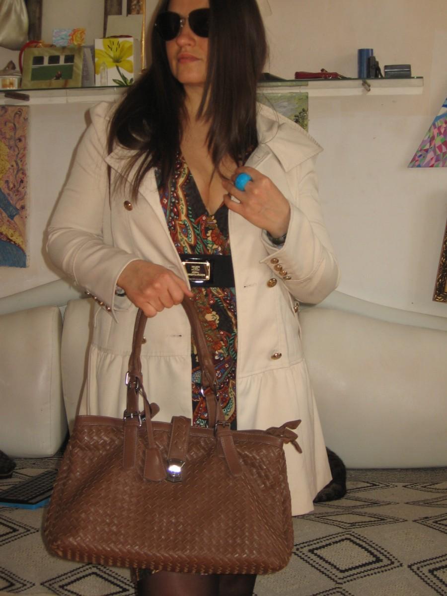 боттега винетта пу кожа новая шоколадная плетенка сумка