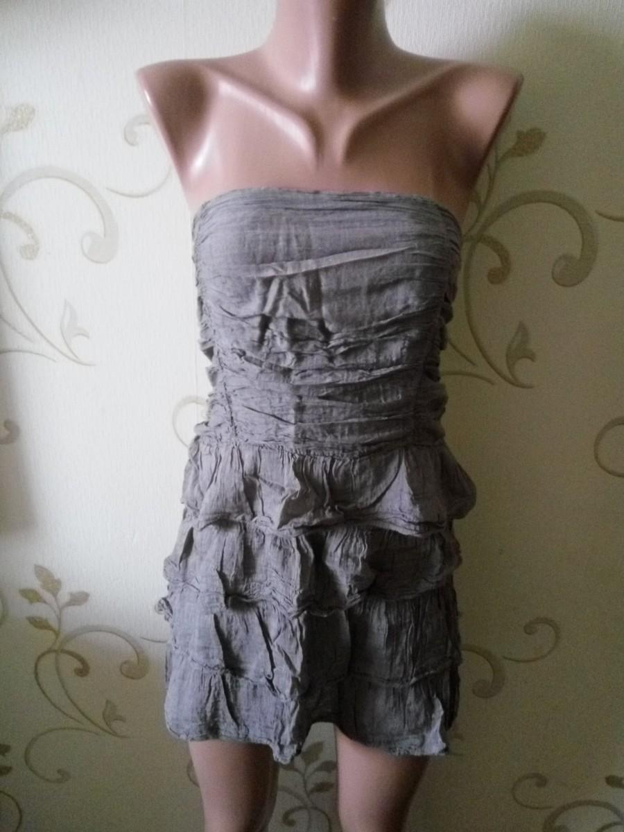 Шелковое летнее платье без бретелек. 70% шелк 30% хлопок.  Размер 12