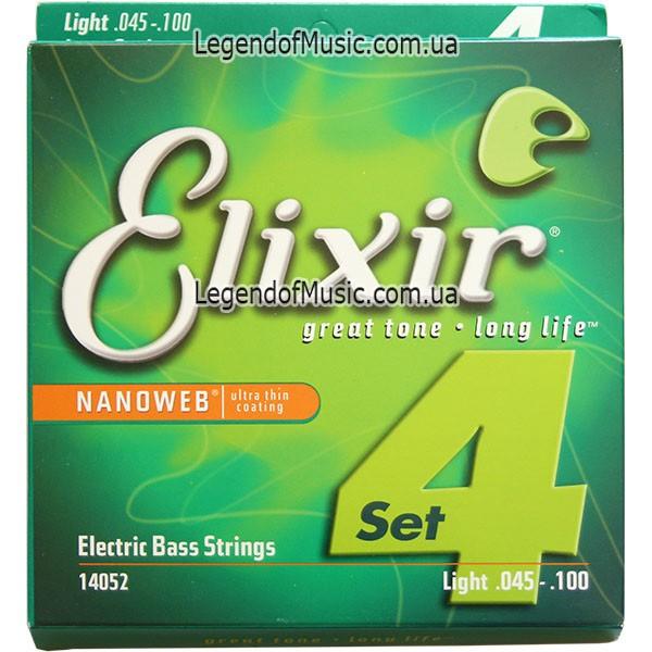 Струны Elixir 14052 Anti-Rust Nanoweb Light 45-100 для бас гитары США