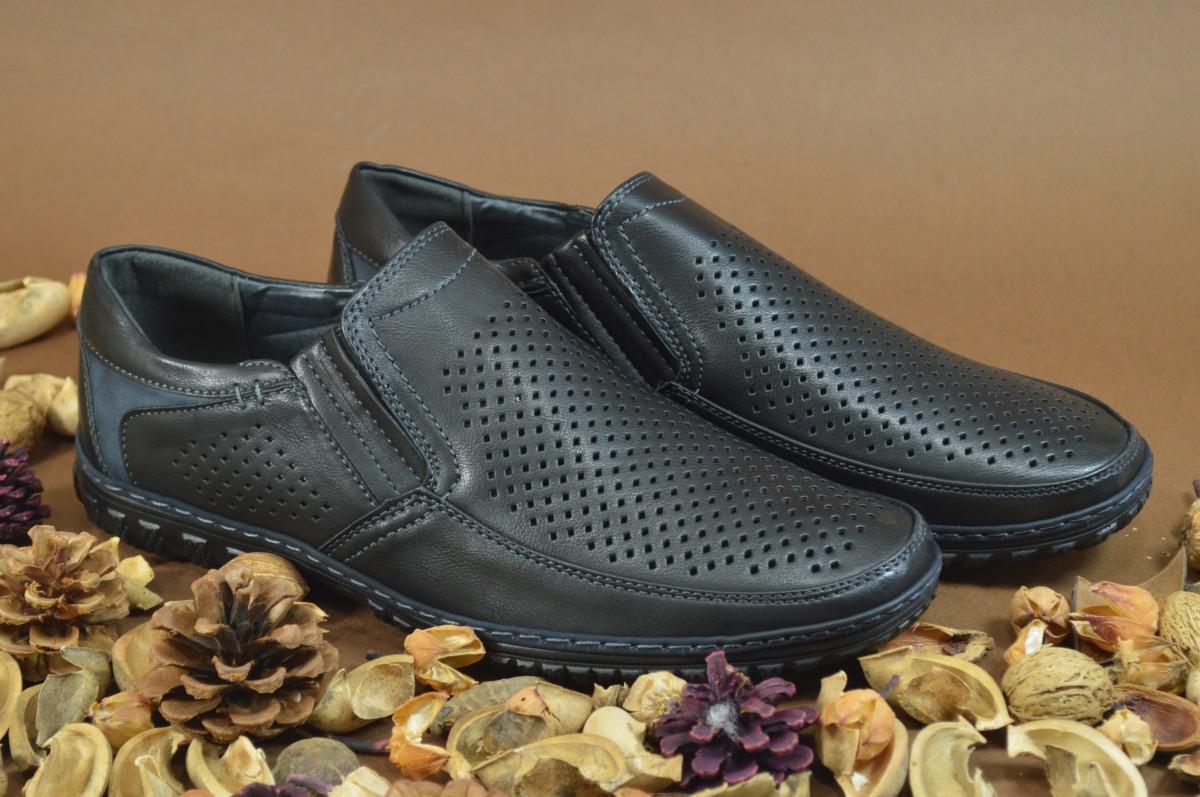 Мужские кожаные туфли на лето полу спорт