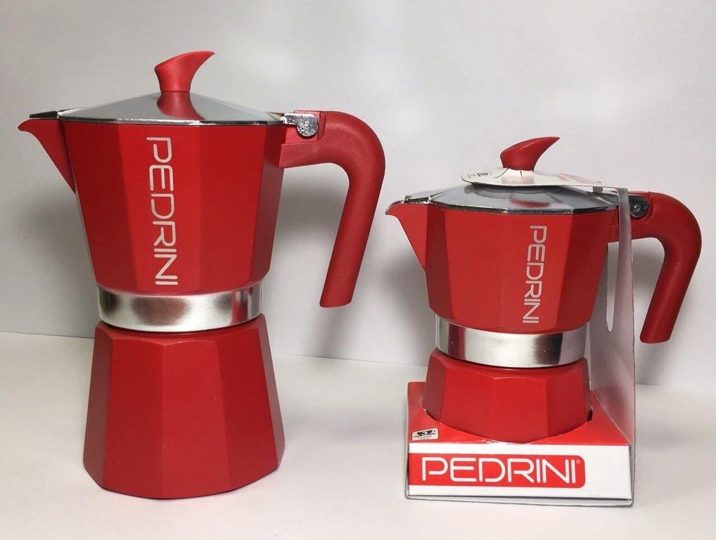 Гейзерна кавоварка Pedrini Алюміній 180 мл Червона (9123-840)