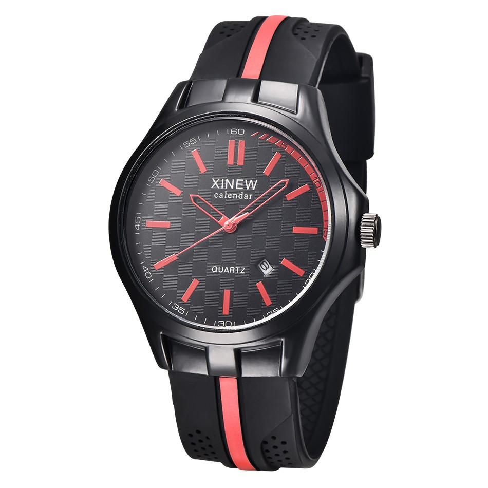 Мужские наручные часы с резиновым ремешком XINEW Calendar TM06491R