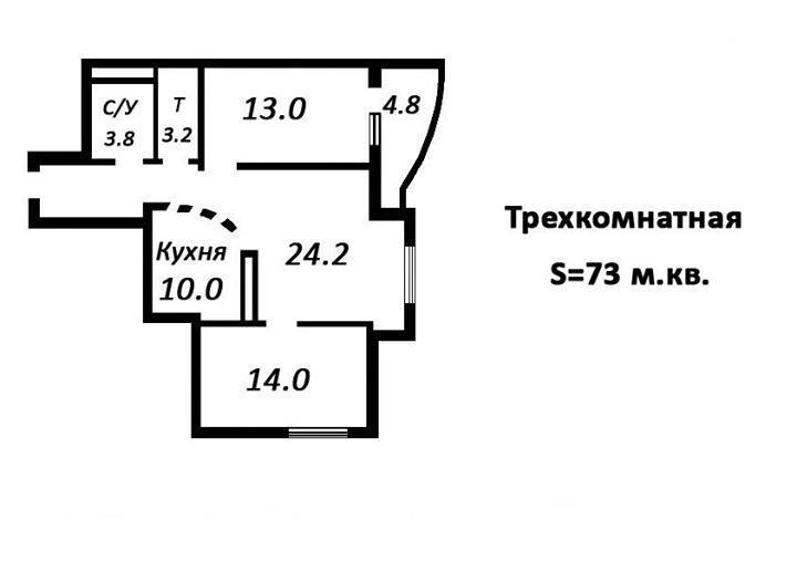 В продаже 3-х комнатная квартира 73 м кв