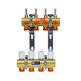 Коллекторный узел для систем теплых полов и отопления на 5 контуров Gi
