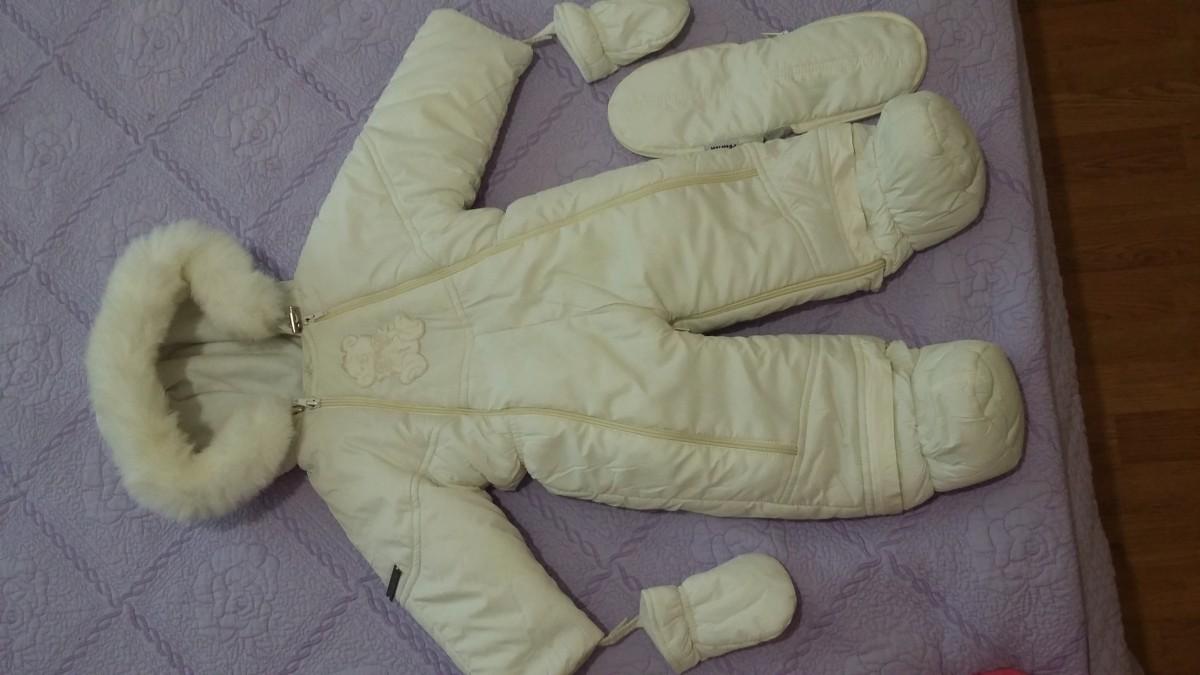 Продам детский бежевий зимний комбинезон