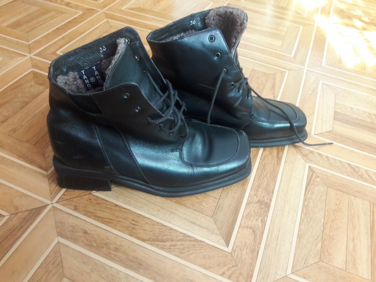 Зимние ботиночки кожаные 36р.