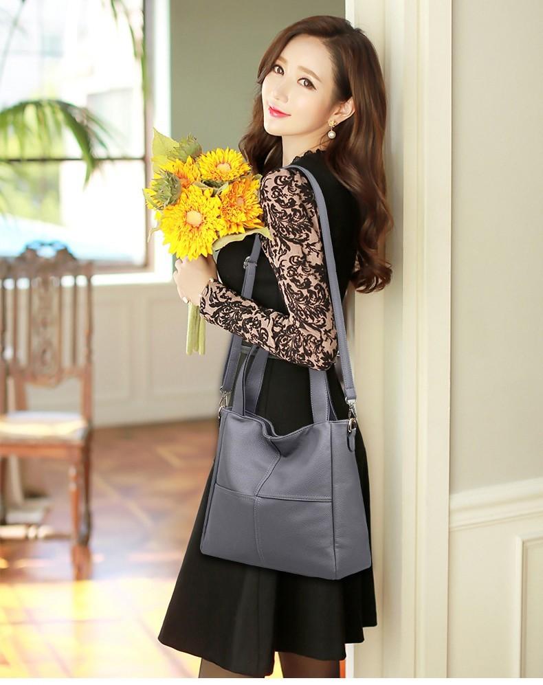 Элегантная женская сумка серого цвета