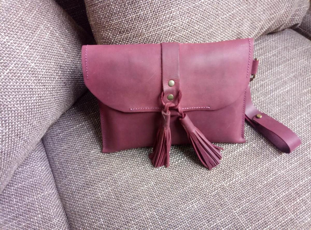 Женска сумочка винного цвета ручной работы, Crazy Horse
