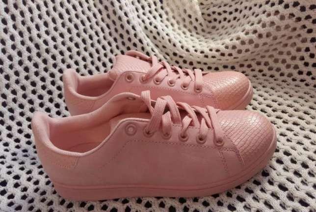 Женские кеды (кроссовки) розовые пудровые персиковые экозамша недорого