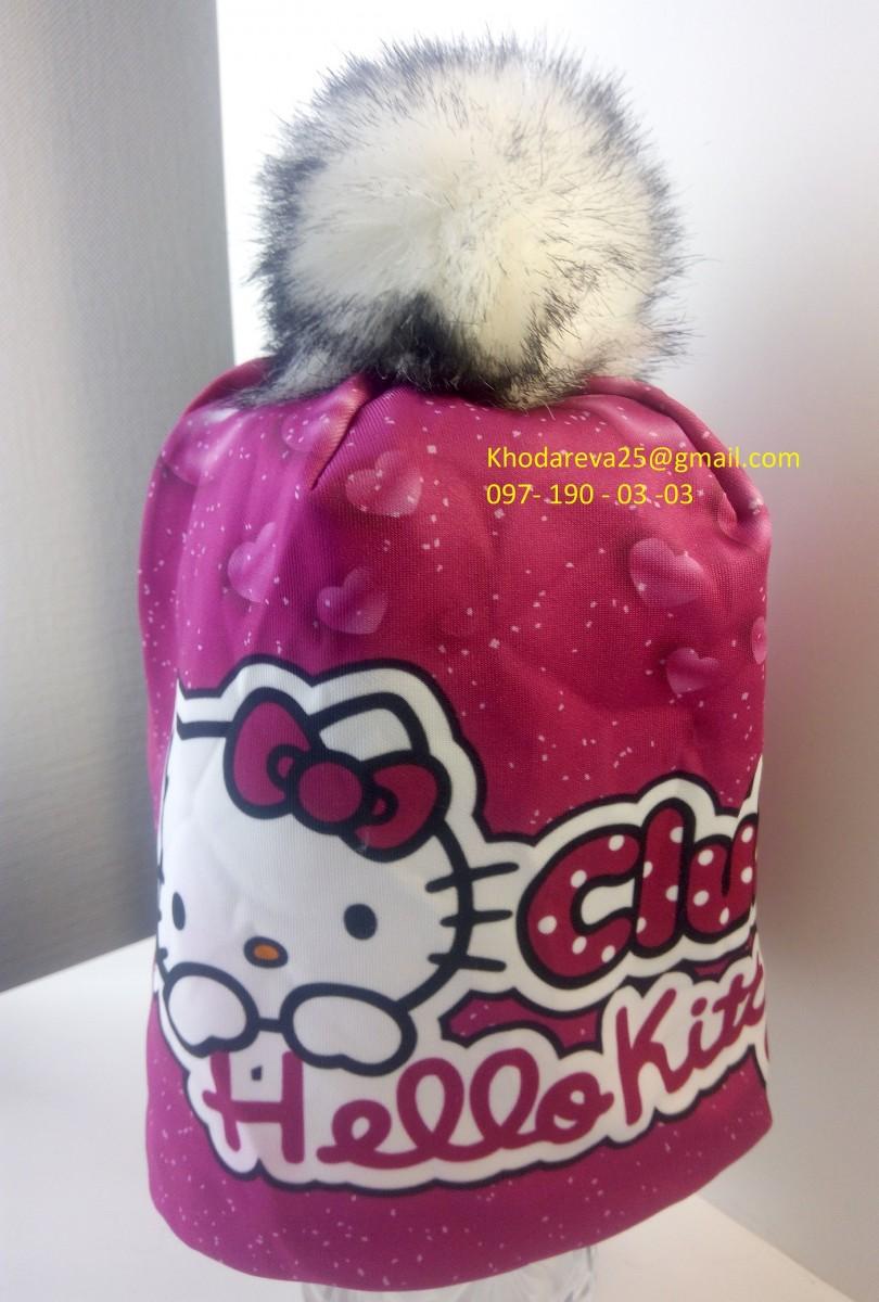 Теплая шапка для девочки Hello Kitty Хелло Китти