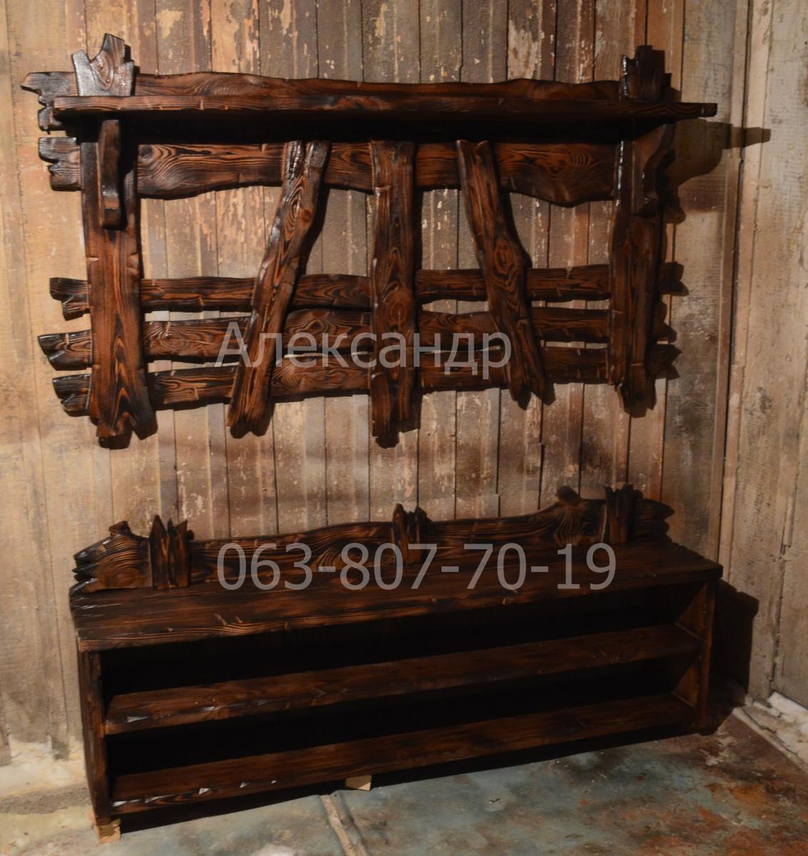 Прихожая деревянная под старину №1( вешалка, полка для обуви )