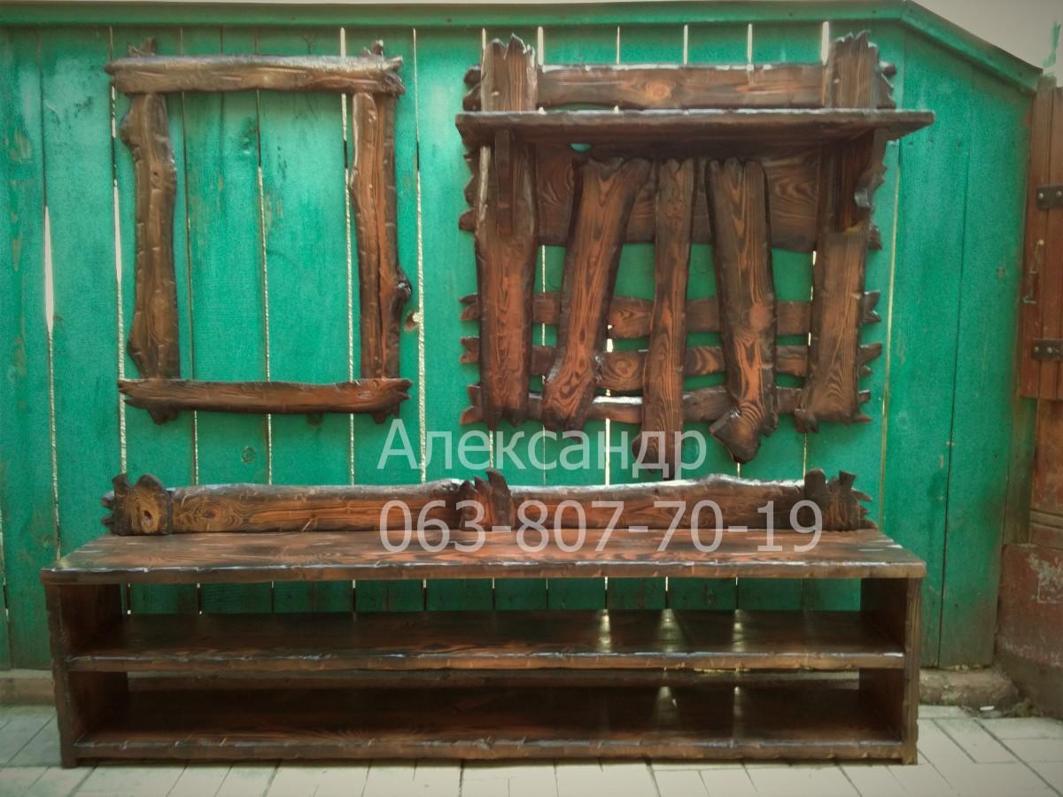 Прихожая деревянная под старину №2( вешалка, полка для обуви, рамка )