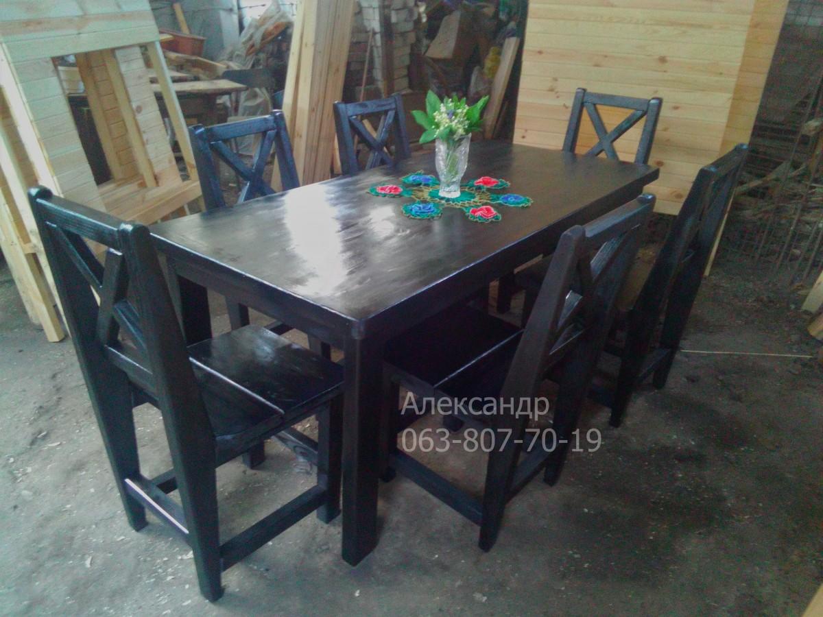Деревянный кухонный комплект №2 черный ( стол и стулья )