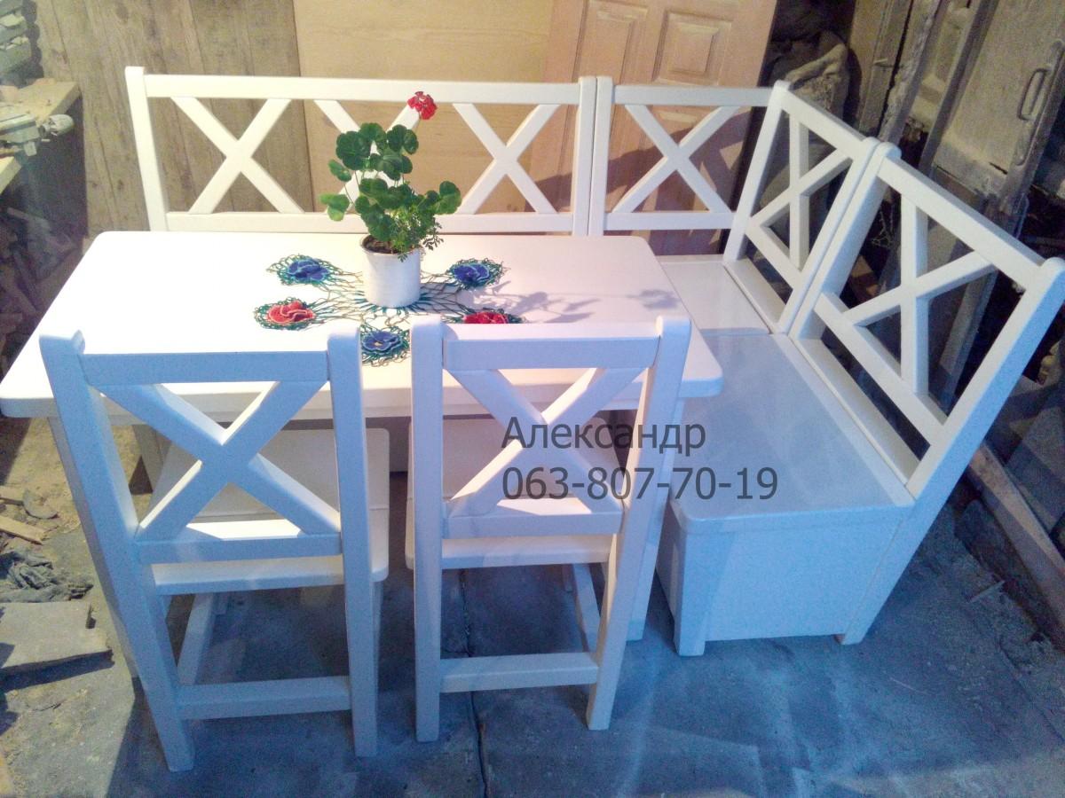 Деревянный кухонный комплект №3 ( стол, стулья, лавка ) Угловой