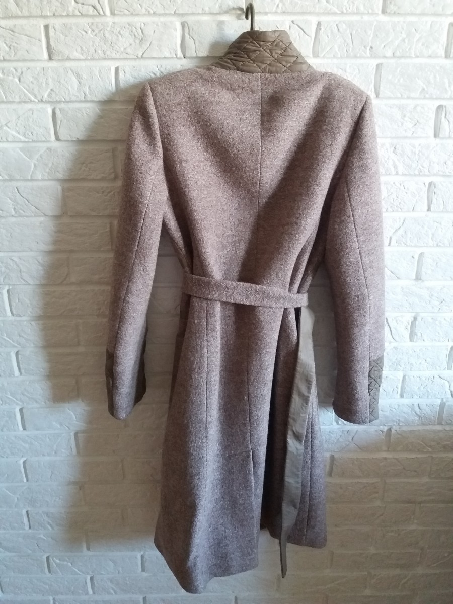 Пальто осень новое бежевое шерстяное длинное 46 L
