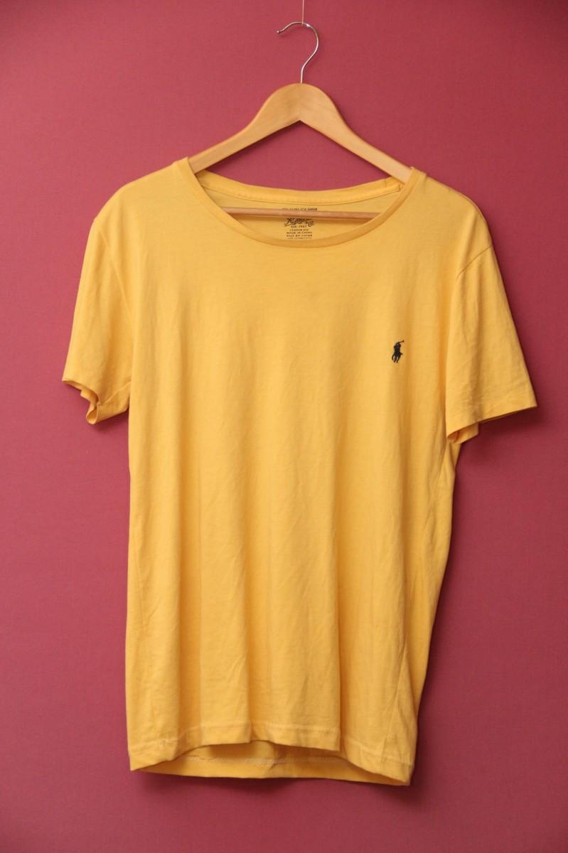 Polo Ralph Lauren L футболка жёлтая оригинал, тёмно синий всадник.