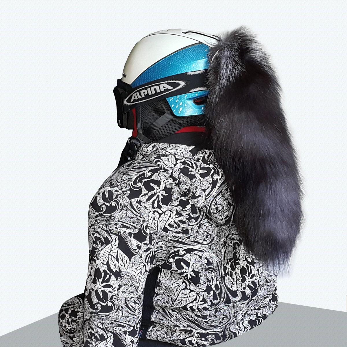 Лисий хвост для шлема черный  Black frost