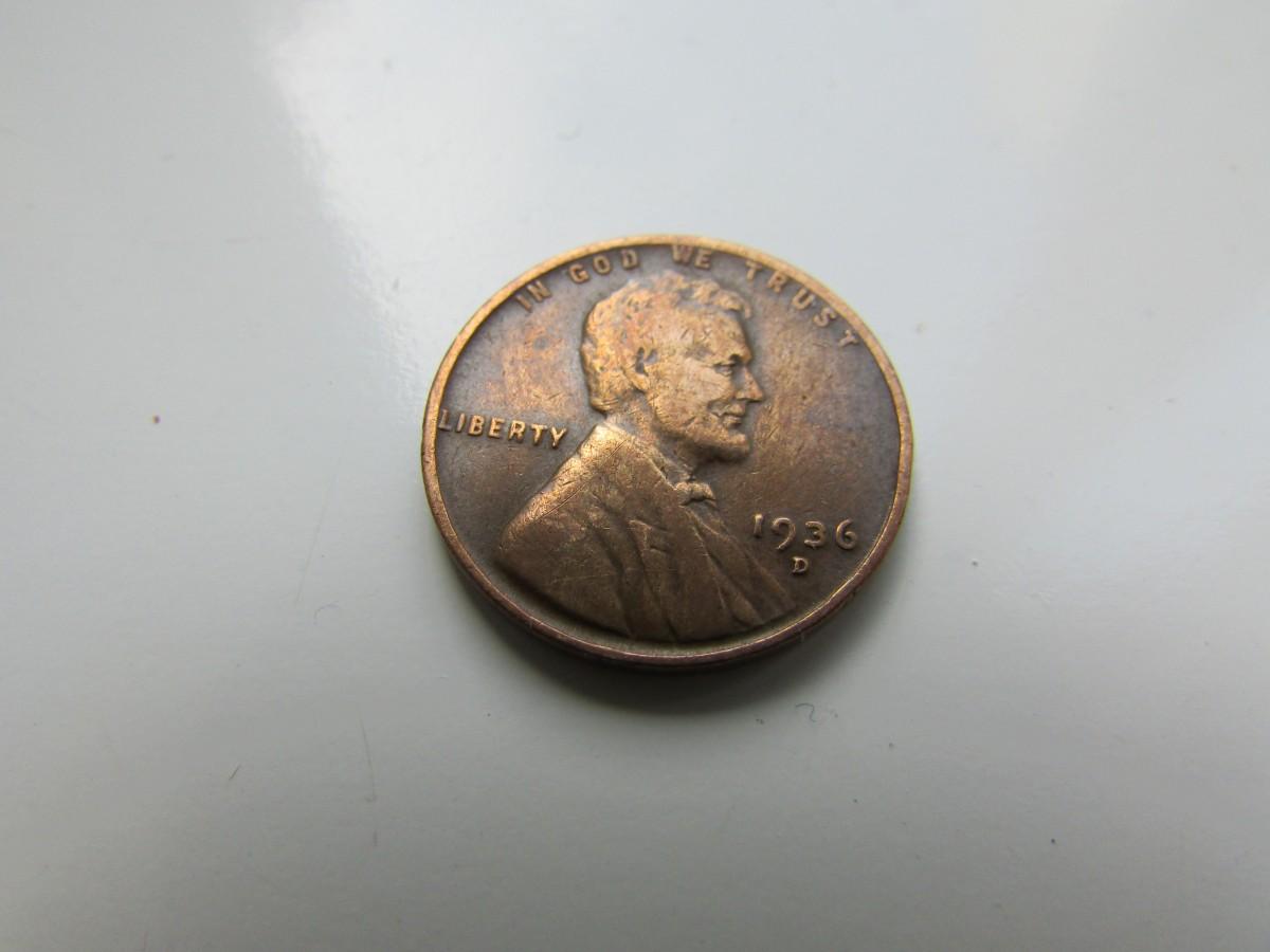 Монета 1 цент США 1936г, 1961г.