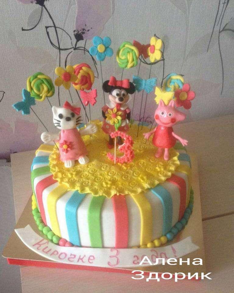 Детский торт с МинниМаус, Хелоукити и свинкой Пэппа