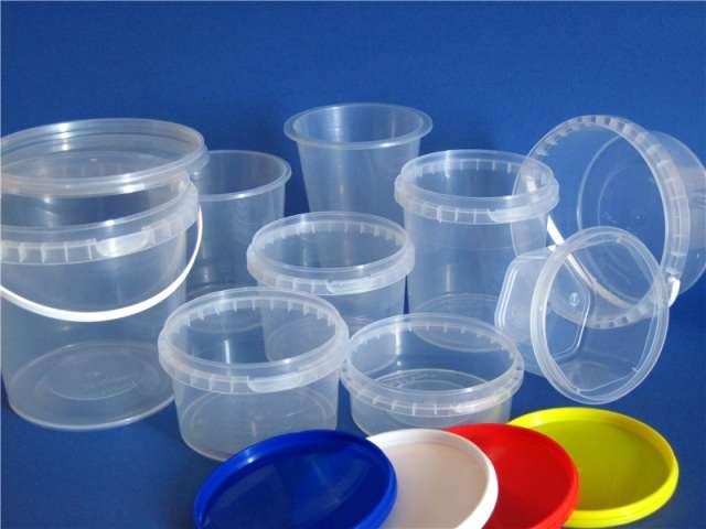 Пластиковая тара для пищевых продуктов: судки круглые, овальные; ведра