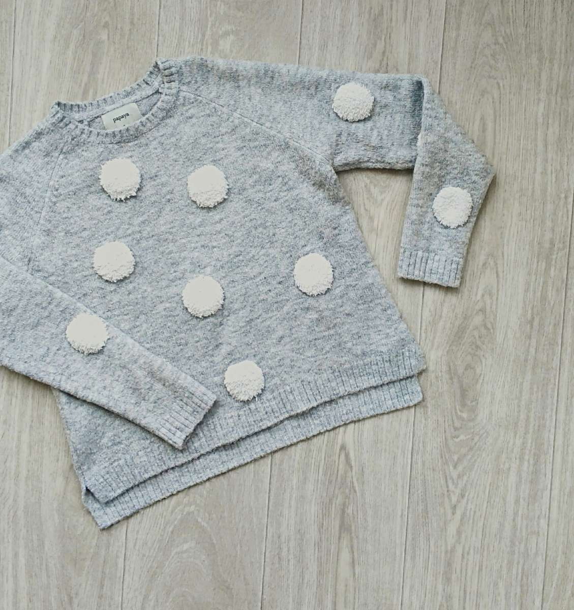 Теплый серый свитер размера s(8) от papaya осень-зима