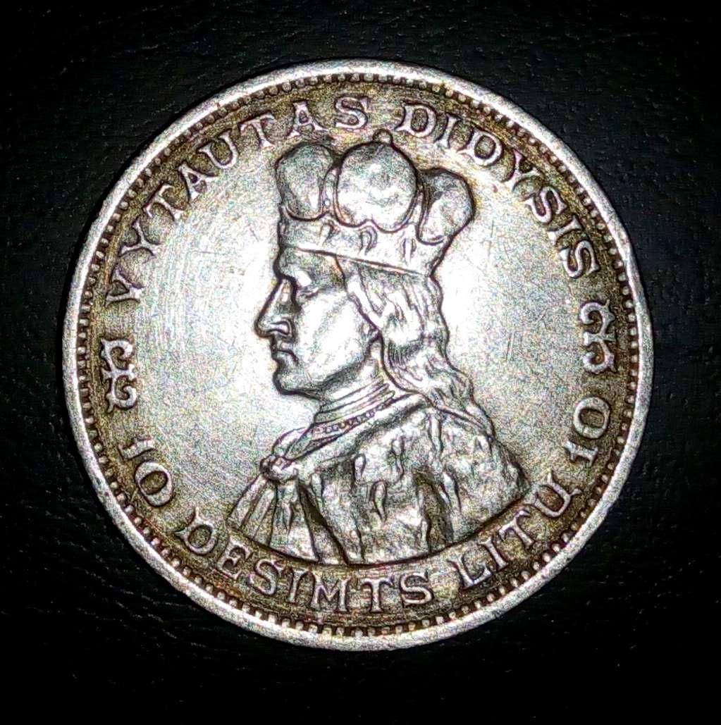 монета 10 лит, Литва, 1936 год, серебро