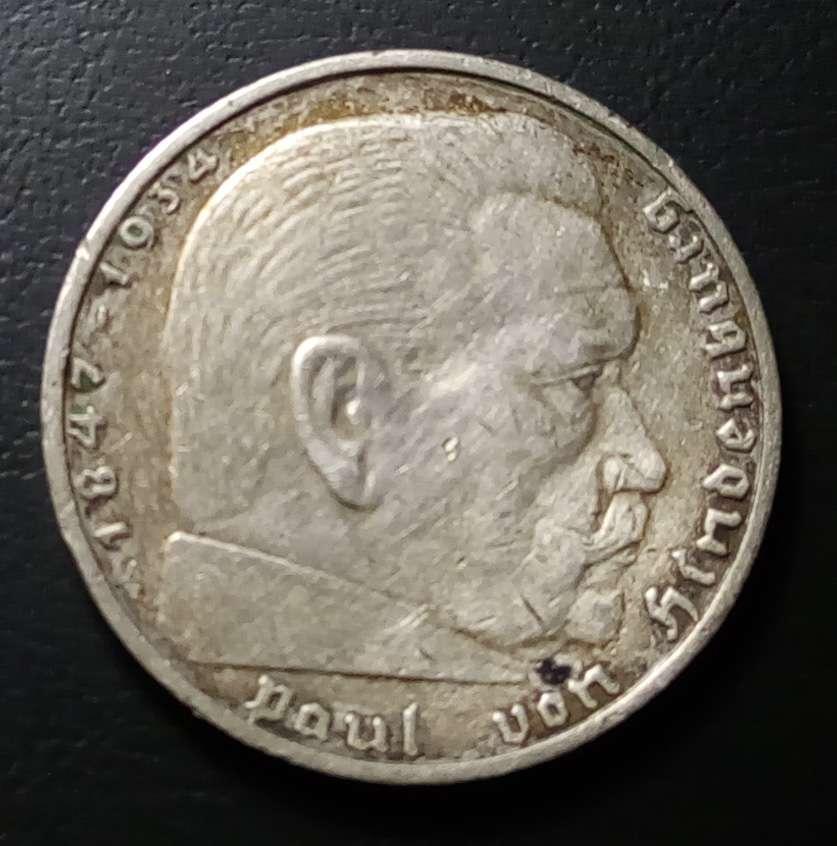 монета 2 марки, Германия, 1939 год, серебряная