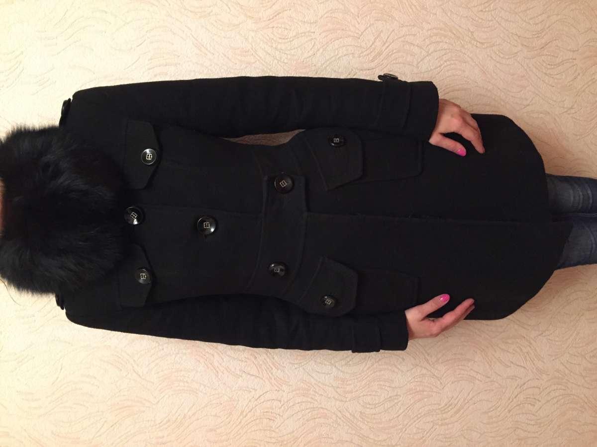 Кашемировое тёплое пальто с натуральным мехом