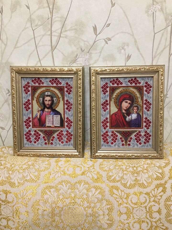 Иконы Казанская + Господь Вседержитель(Венчальная пара,чешский бисер)