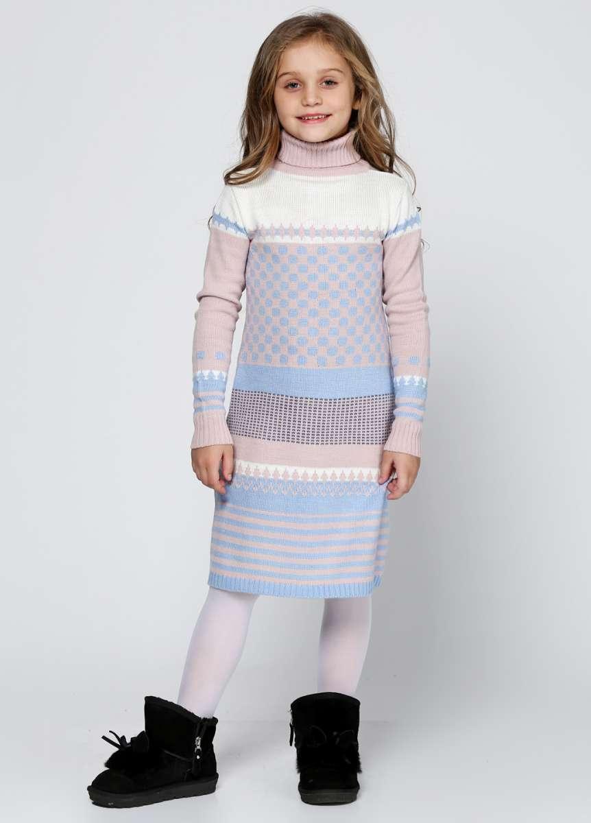 Вязаное удлиненное платье р.128-152