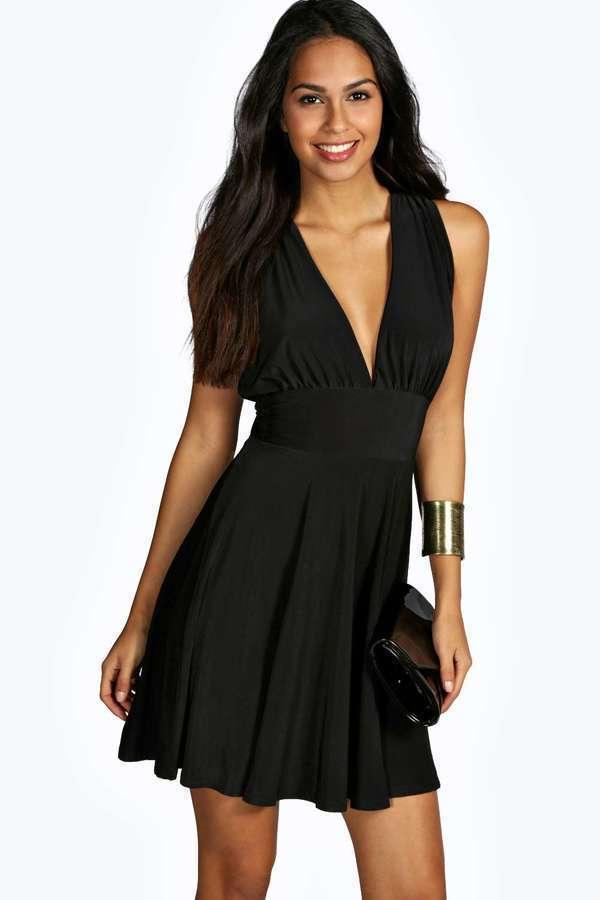Открытое черное платье Boohoo, р.12, европ.40, М-Ка