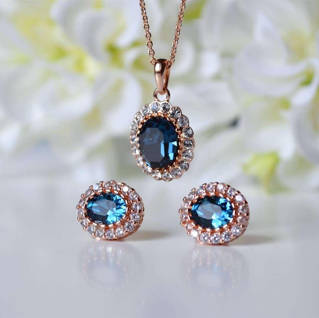 Комплект «Офелия» с синими кристаллами