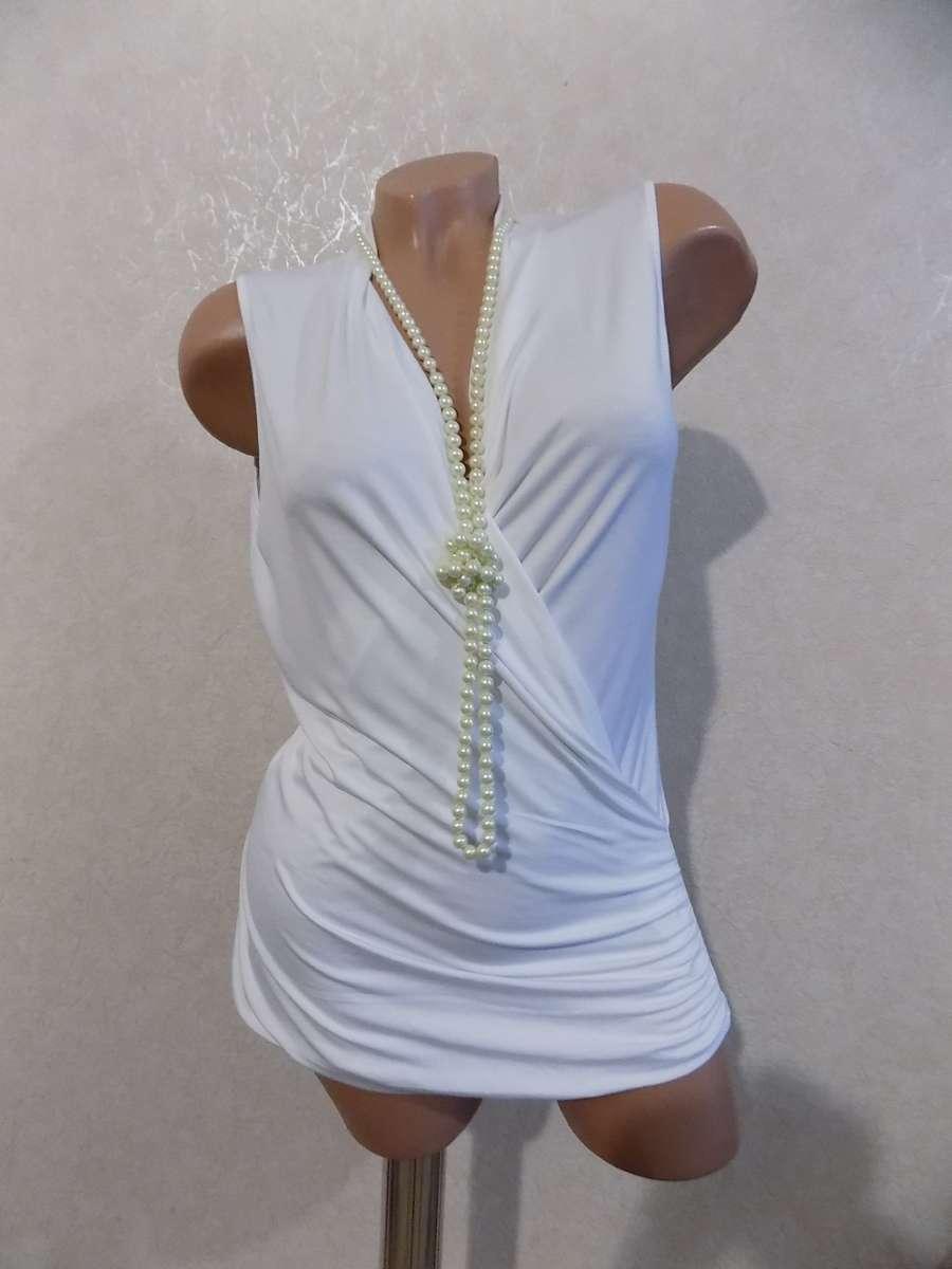 Кофта безрукавка блузка на запах стрейчевая фирменная размер 48-50